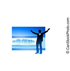 excited businessman on blue internet background