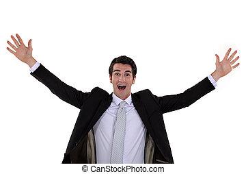 Excited businessman