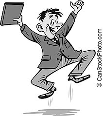 Excited businessman with binder on white background