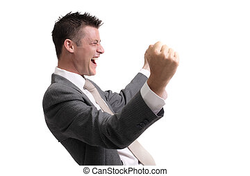 excited businessman - young, handsome businessman showing ...
