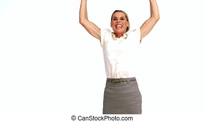 Excited businesswoman cheering and