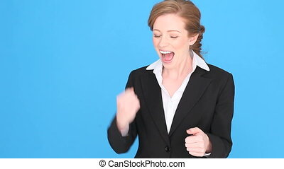 Excited Businesswoman Giving Thumbs