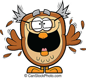 Excited Cartoon Owl - Cartoon illustration of an excited owl...