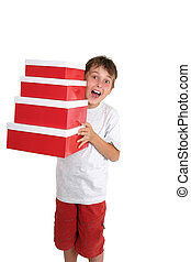 Excited child carrying gift boxes