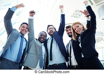 Excited co-workers - Group of ecstatic business partners...