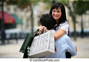 excited couple doing shopping