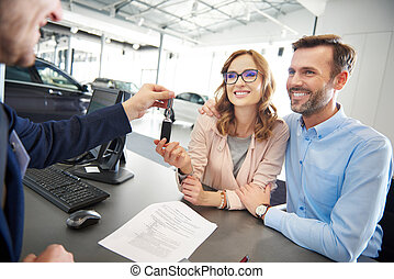 Excited couple receiving car keys
