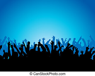 Silhouette of a crowd with their arms raised