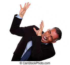 Excited executive screaming with hands up
