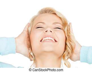 excited face of woman