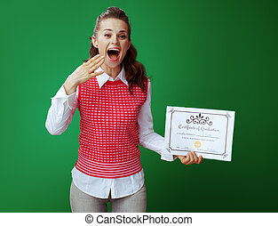 excited fit learner woman with Certificate of Graduation