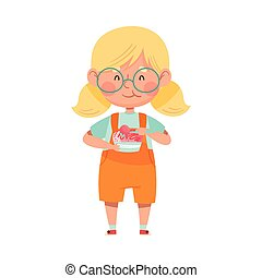 Excited Girl Character with Tub of Ice Cream and Spoon Vector Illustration. Little Kid Eating Cold Refreshing Treat and Enjoying Summer Concept
