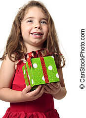 Excited girl holding a present