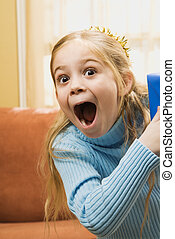 Excited girl. - Caucasian girl with excited expression.