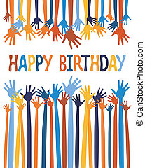 Excited hands birthday card design. - Excited hands birthday...