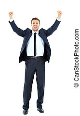 Excited handsome business man with arms raised in success -...
