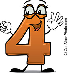 Excited happy number 4 - Vector cartoon illustration of an...