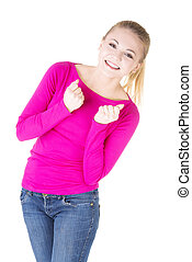 Excited happy success young woman with fists