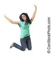 Excited Indian woman jumping for joy. Beautiful Asian woman...