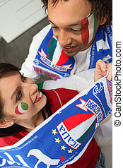 Excited Italian sports fans