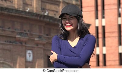 Excited Laughing Woman Wearing Hat And Wig