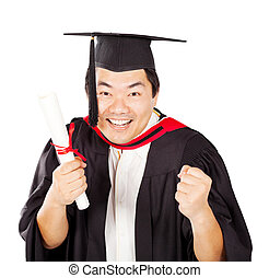 excited male Chinese graduate with diploma