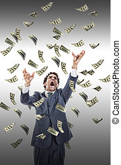 excited man catching money falling around him, businessman under money rain, yelling man reaching for flying banknotes