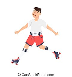 Excited Man Character Dancing on Roller Skates Vector Illustration. Young Male Roller Skating Engaged in Sport or Hobby Outdoor Activity Concept