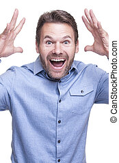 Excited man - Portrait of handsome bearded Caucasian man ...