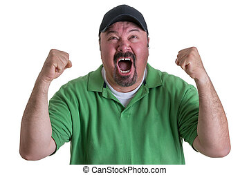 Excited Man Wearing Green Shirt Celebrating - Excited...