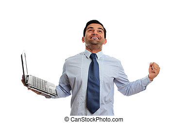 Excited man with laptop victory success - An excited man...