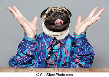 Excited man with pug dog head raised hands