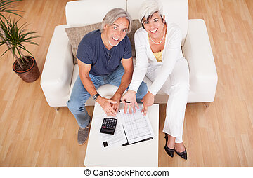 Excited middle-aged couple doing finances at home