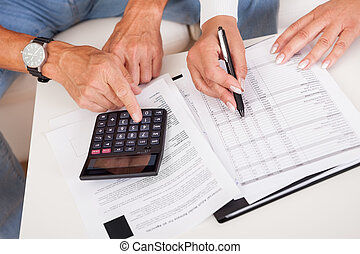 Excited middle-aged couple doing finances at home - Excited...