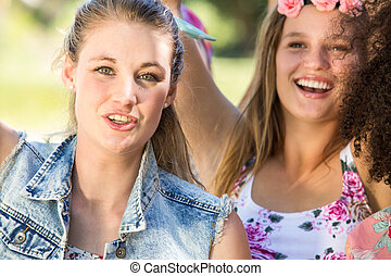 Excited music fans at festival