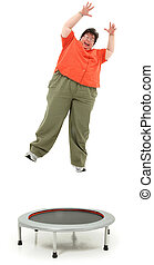 Excited Obese Forties Woman Jumping on Trampoline - Excited...