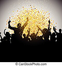 excited party crowd on confetti background 0208