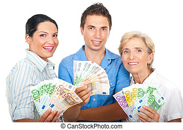 Excited people holding money - Portrait of excited group of...