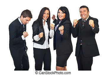 Excited people team with success in business