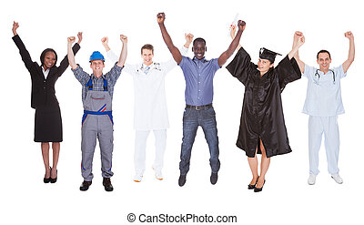 Excited People With Diverse Occupations