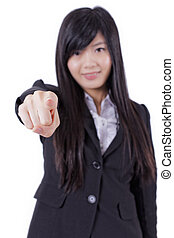 excited Portrait of a successful business woman pointing at you and smiling