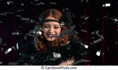 Excited retro styled woman dressed in Roaring twenties era ...