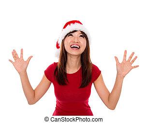 Excited Santa woman