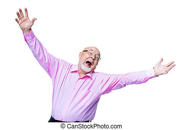 excited senior man