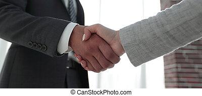 Excited smiling businessman handshaking partner at meeting,...