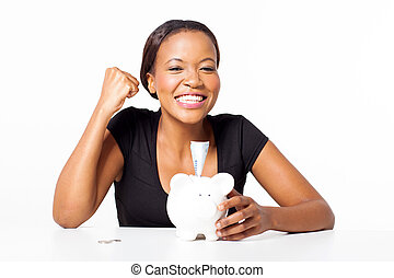 successful african woman with her savings