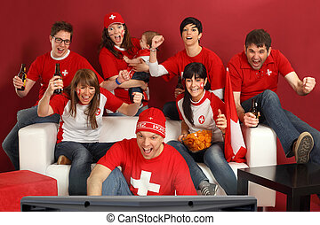 Excited Swiss sports fans