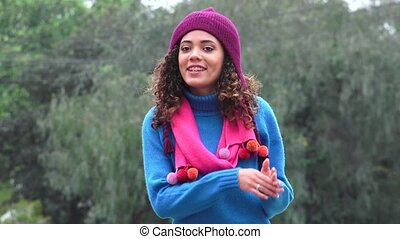 Excited Teen Girl Talking Wearing Sweater