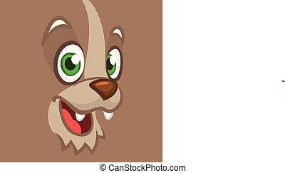 excited., vecteur, loup, illustration, heureux