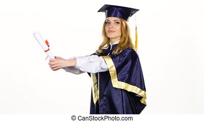 Excited woman graduate in gown with diploma. White